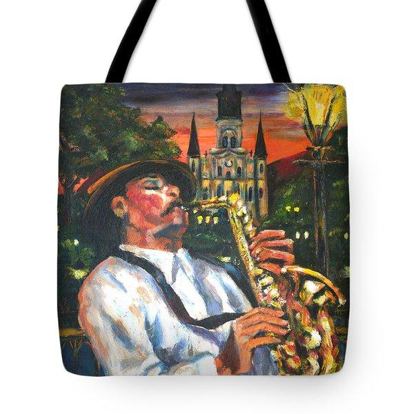Jazz By Street Lamp Tote Bag
