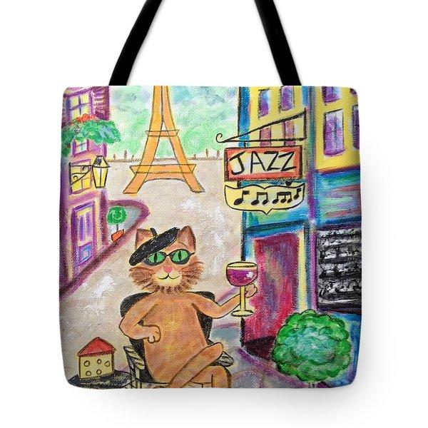 Jazz Cat Tote Bag by Diane Pape