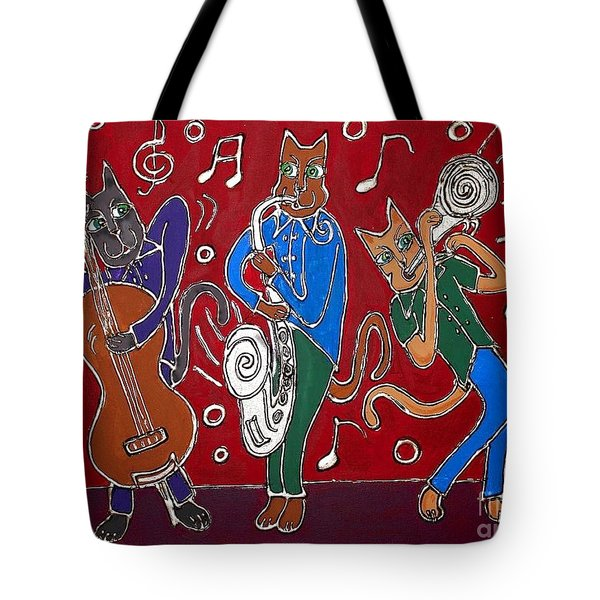 Jazz Cat Trio Tote Bag by Cynthia Snyder