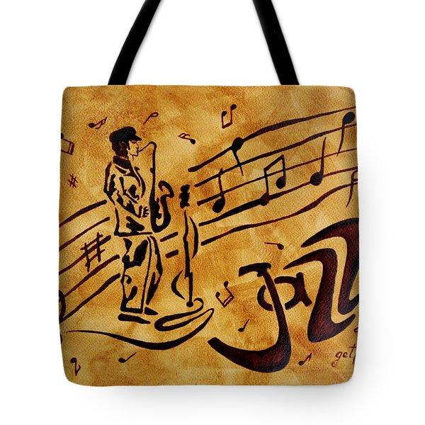 Jazz Coffee Painting Tote Bag by Georgeta  Blanaru