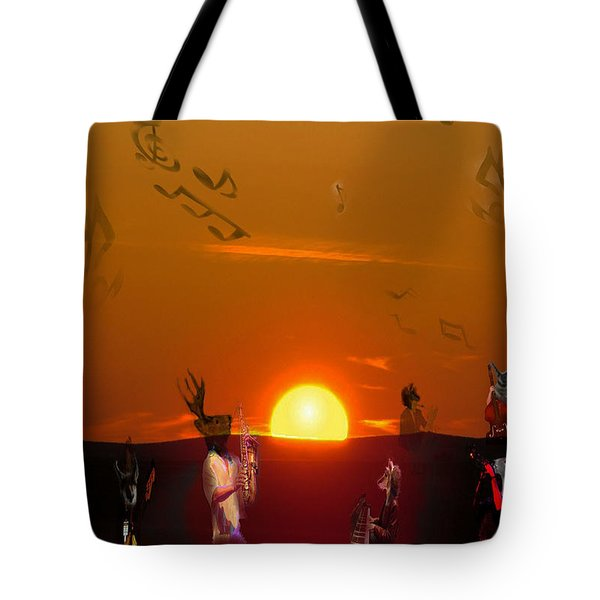Tote Bag featuring the digital art Jazz Fest by Cathy Anderson