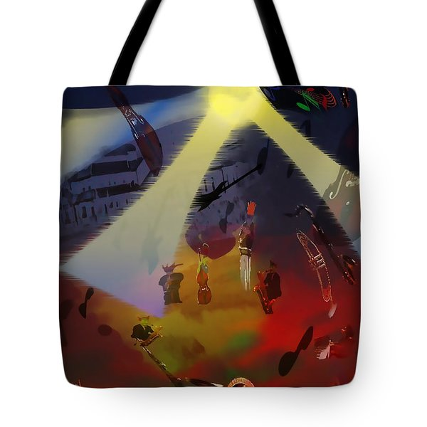 Tote Bag featuring the digital art Jazz Fest II by Cathy Anderson