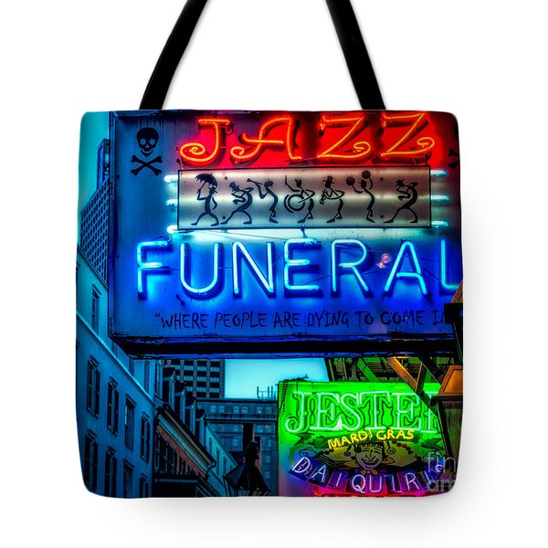 Jazz Funeral And Jester On Bourbon St. Tote Bag by Kathleen K Parker