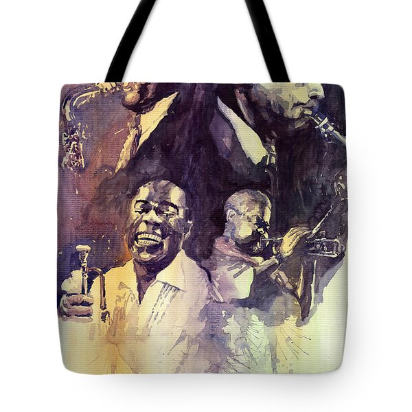 Jazz Legends Parker Gillespie Armstrong  Tote Bag by Yuriy  Shevchuk