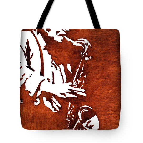 Jazz Saxofon Player Coffee Painting Tote Bag