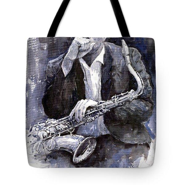 Jazz Saxophonist John Coltrane Black Tote Bag by Yuriy  Shevchuk