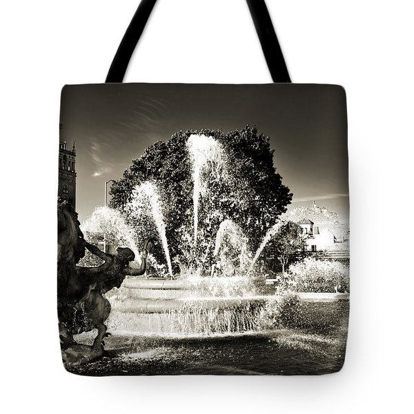 Jc Nichols Memorial Fountain Bw 1 Tote Bag