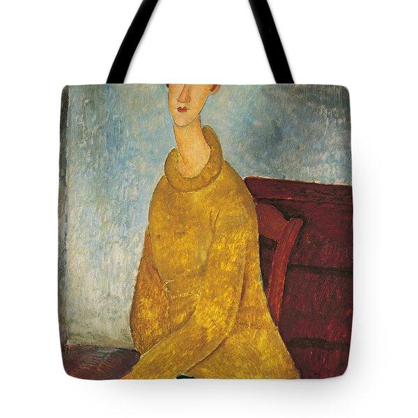 Jeanne Hebuterne In Yellow Sweater Tote Bag by Amedeo Modigliani