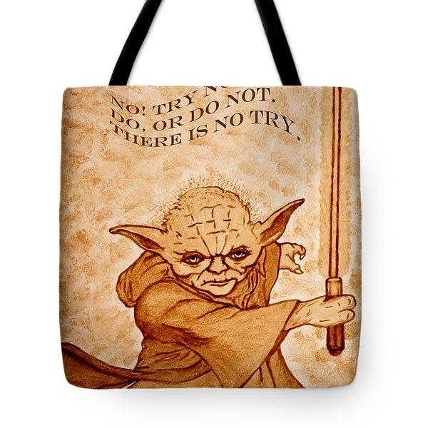 Tote Bag featuring the painting Jedi Yoda Wisdom by Georgeta  Blanaru