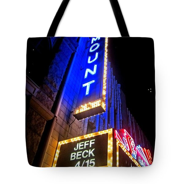 Tote Bag featuring the photograph Jeff Beck At The Paramount by Fiona Kennard