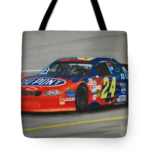 Jeff Gordon Hits Pit Road Tote Bag by Paul Kuras