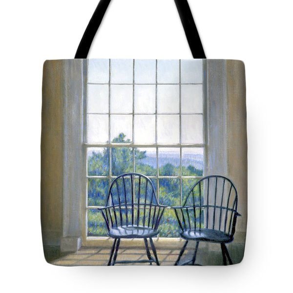 Jefferson And A Friend At Monticello Tote Bag by Candace Lovely