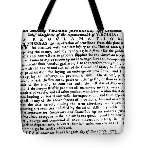 Jefferson: Embargo, 1779 Tote Bag by Granger