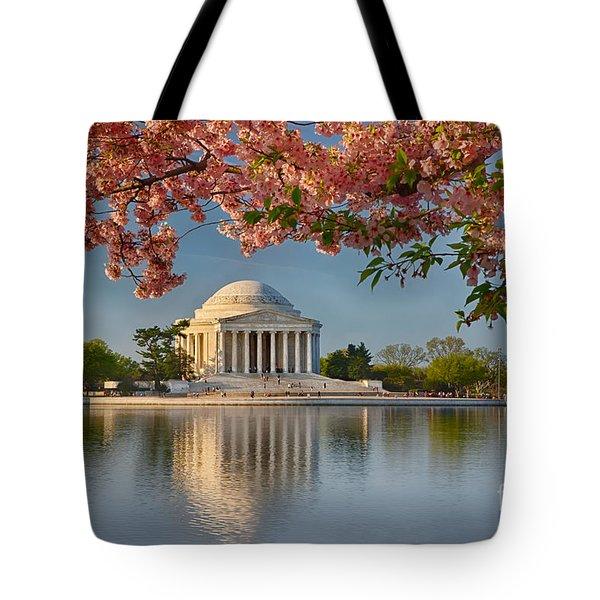 Jefferson Memorial In Spring Tote Bag