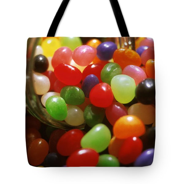 Jelly Beans Spilling Out Of Glass Jar Tote Bag by Anonymous