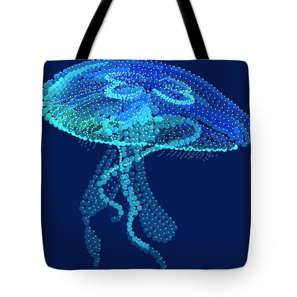 Jellyfish Bedazzled Tote Bag by R  Allen Swezey