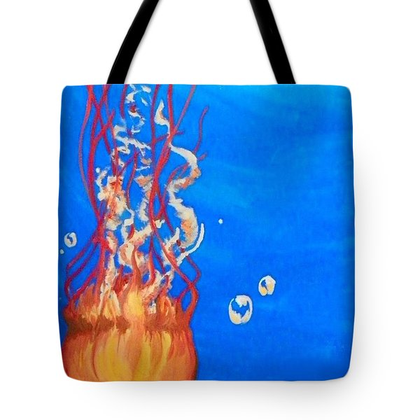 Tote Bag featuring the painting Jellyfish by Marisela Mungia
