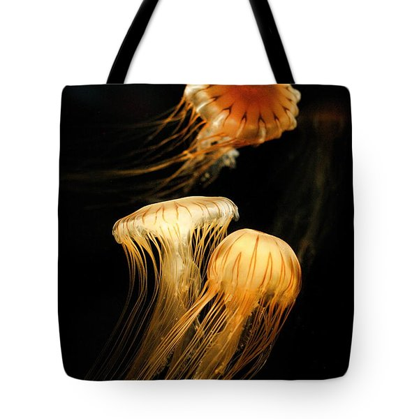 Jellyfish Trio Floating Against A Black Tote Bag