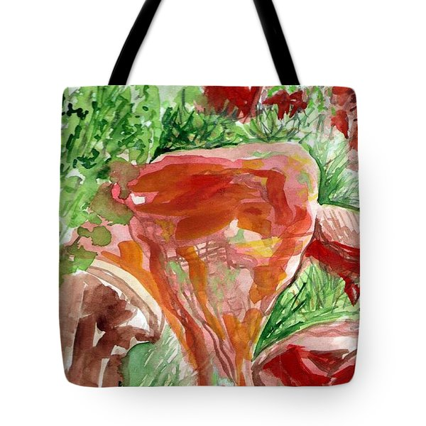 Tote Bag featuring the painting Jemez Red Rocks by Ashley Kujan