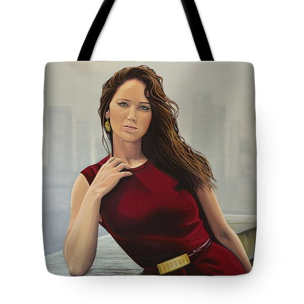 Jennifer Lawrence Painting Tote Bag