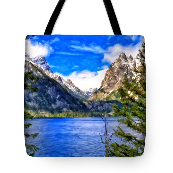 Tote Bag featuring the painting Jenny Lake by Michael Pickett