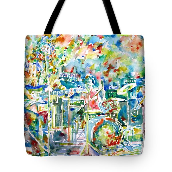 Jerry Garcia And The Grateful Dead Live Concert - Watercolor Portrait Tote Bag