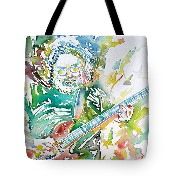 Jerry Garcia Playing The Guitar Watercolor Portrait.1 Tote Bag by Fabrizio Cassetta
