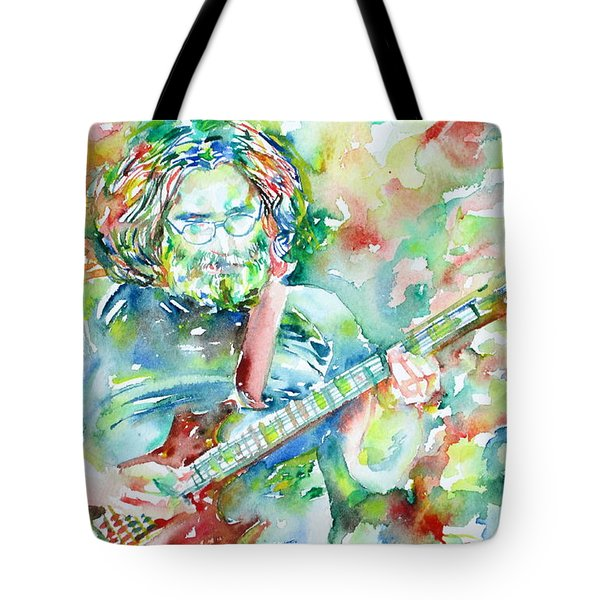 Jerry Garcia Playing The Guitar Watercolor Portrait.3 Tote Bag