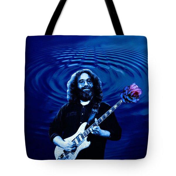 Blue Ripple Rose Tote Bag