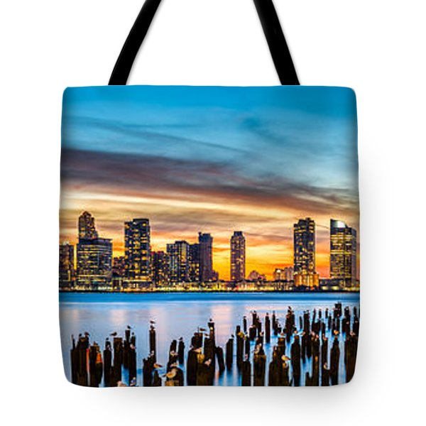 Tote Bag featuring the photograph Jersey City Panorama At Sunset by Mihai Andritoiu