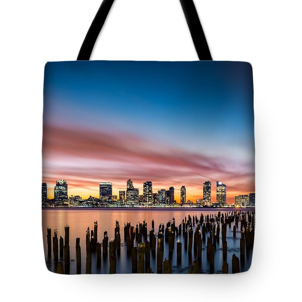Tote Bag featuring the photograph Jersey City Skyline At Sunset by Mihai Andritoiu
