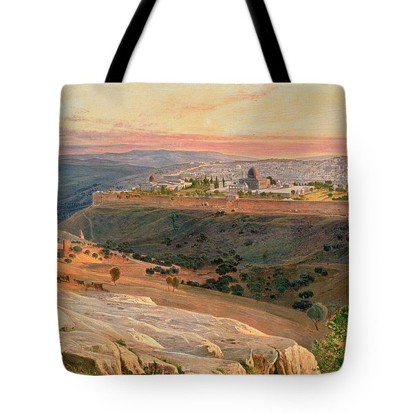 Jerusalem From The Mount Of Olives Tote Bag by Edward Lear