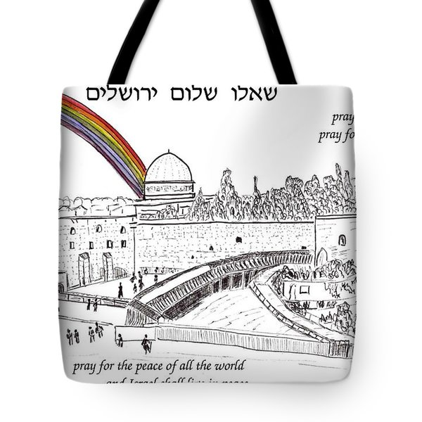Jerusalem With Rainbow Tote Bag