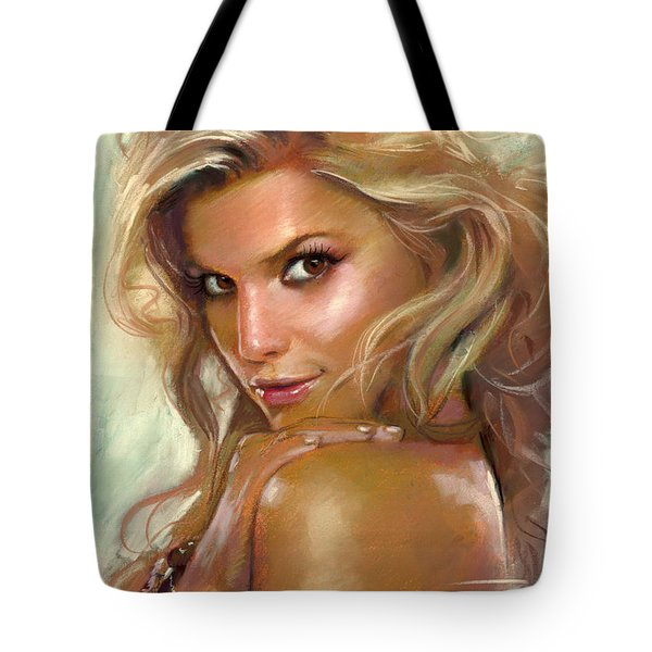 Tote Bag featuring the drawing Jessica Simpson by Viola El