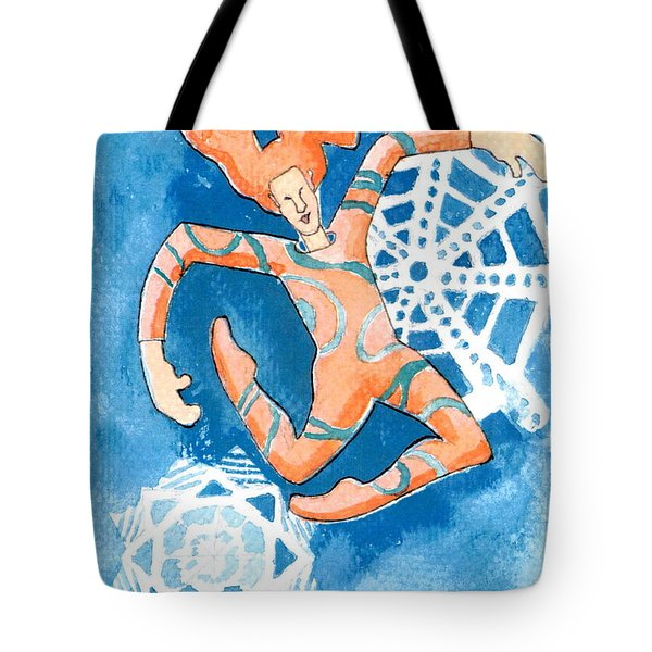 Jester With Snowflakes Tote Bag by Genevieve Esson