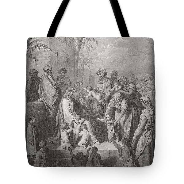 Jesus Blessing The Children Tote Bag by Gustave Dore