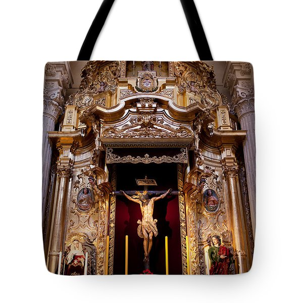 Jesus Christ On The Cross Reredos In Seville Cathedral Tote Bag by Artur Bogacki
