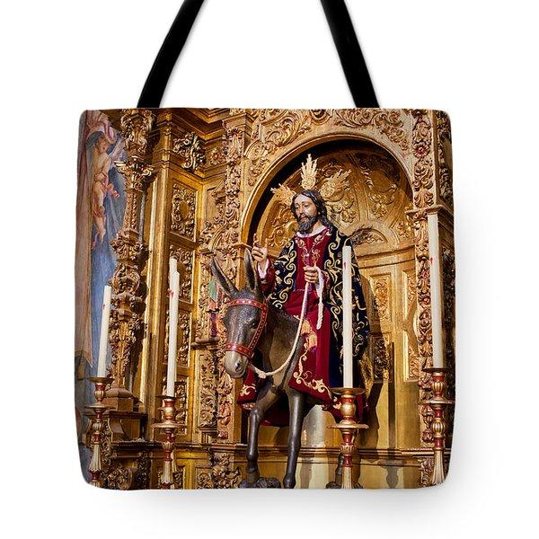Jesus Entering Jerusalem On A Donkey Reredos Tote Bag by Artur Bogacki