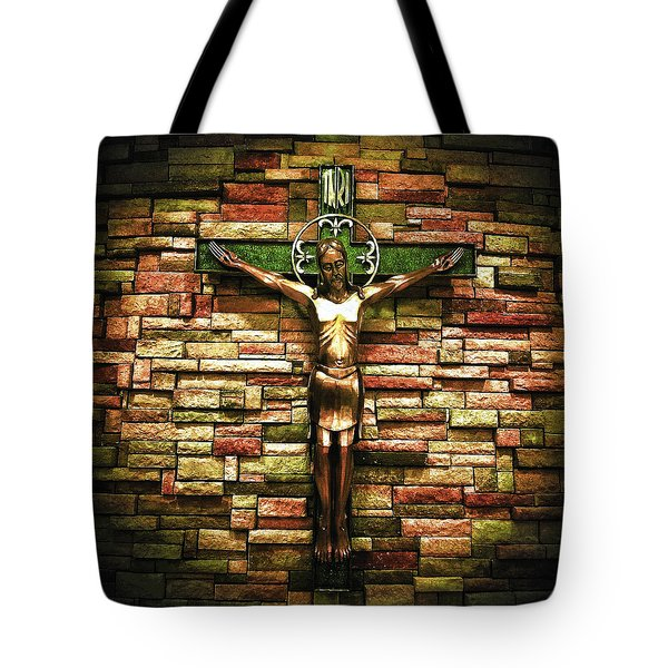 Tote Bag featuring the photograph Jesus Is His Name Cream Border by Al Harden