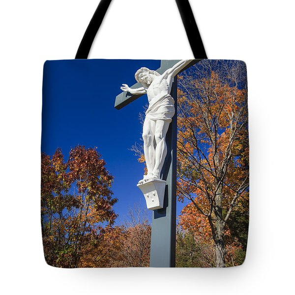 Jesus On The Cross Tote Bag by Adam Romanowicz