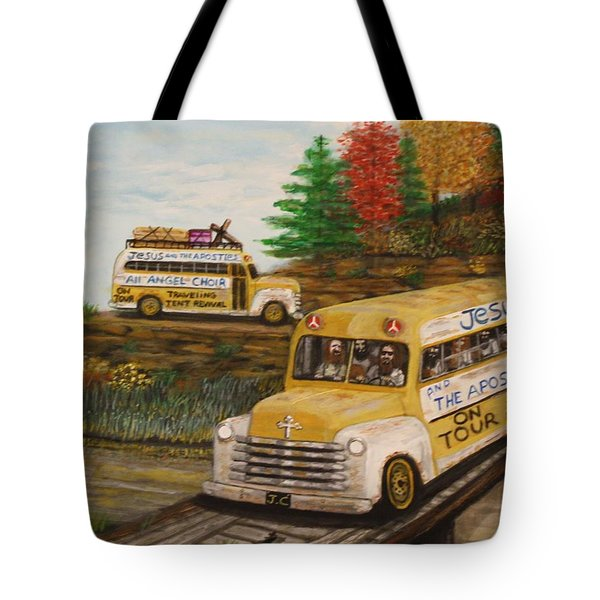 Jesus On Tour Tote Bag by Larry Lamb