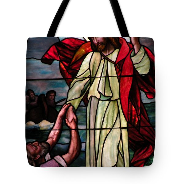 Jesus Rescues Peter From The Sea Tote Bag by Kim Bemis