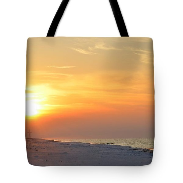 Jesus Rising On Easter Morning On Navarre Beach Tote Bag by Jeff at JSJ Photography