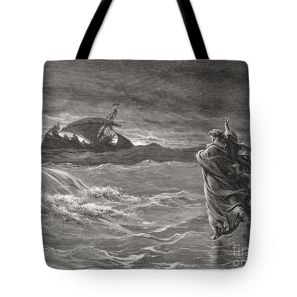 Jesus Walking On The Sea John 6 19 21 Tote Bag
