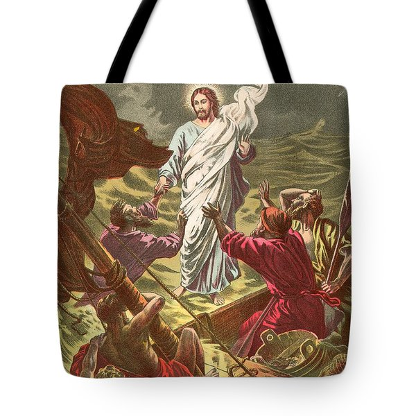 Jesus Walking On The Water Tote Bag by Anonymous