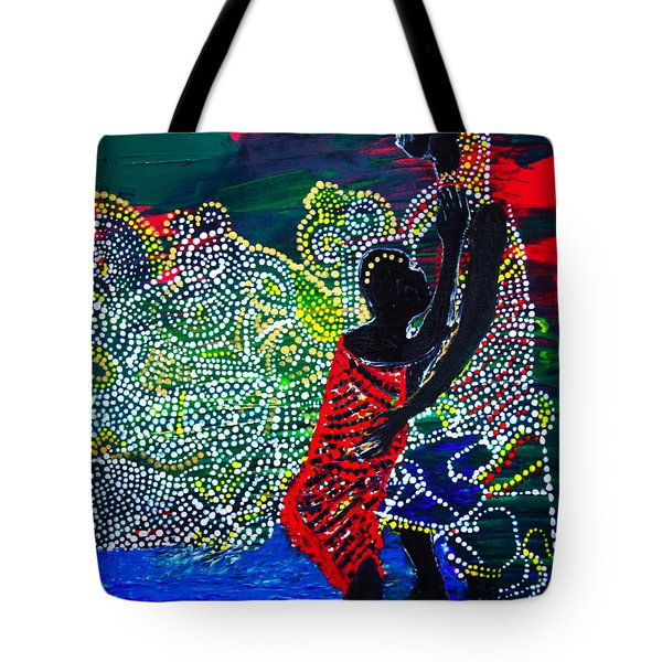 Tote Bag featuring the painting Jesus Walking On Water by Gloria Ssali