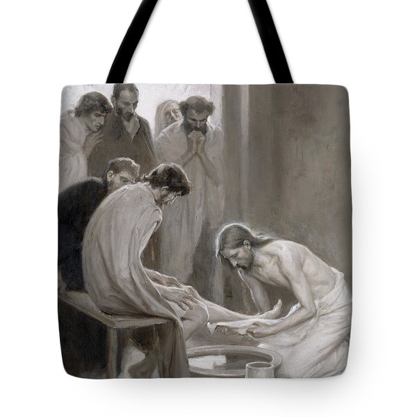 Jesus Washing The Feet Of His Disciples Tote Bag by Albert Gustaf Aristides Edelfelt