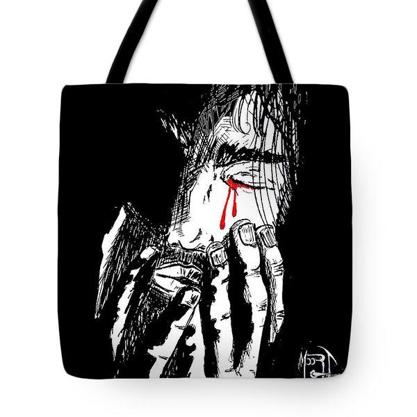 Jesus Wept Red Tears Tote Bag by Justin Moore