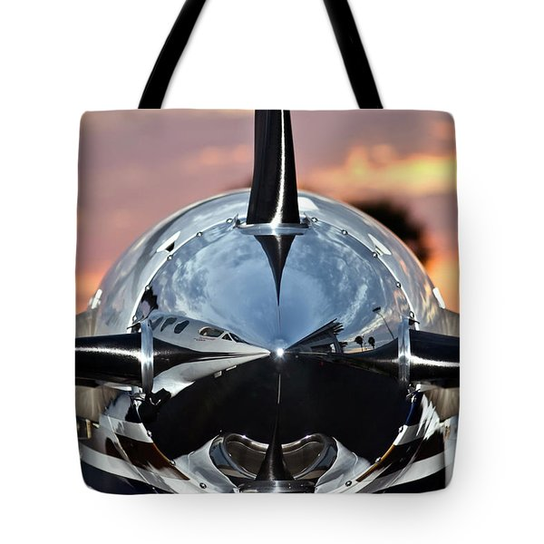 Airplane At Sunset Tote Bag