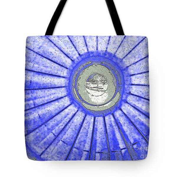 Jet Engine In Blue Abstract Tote Bag by Sally Simon